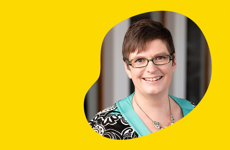 Ruth Harrison on yellow background
